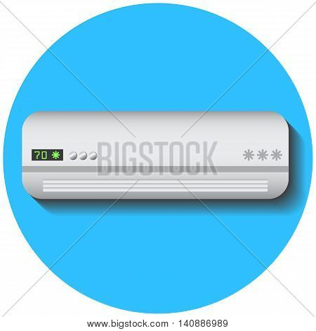 Modern air conditioner, flat vector illustration on blue. Climate control technology. Conditioning split system. In-house cooling device with temperature scale. Summer heat comfort. Aircon icon, logo