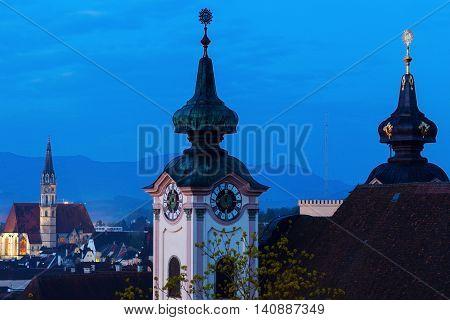 Steyr panorama with St. Michael's Church. Steyr Upper Austria Austria..