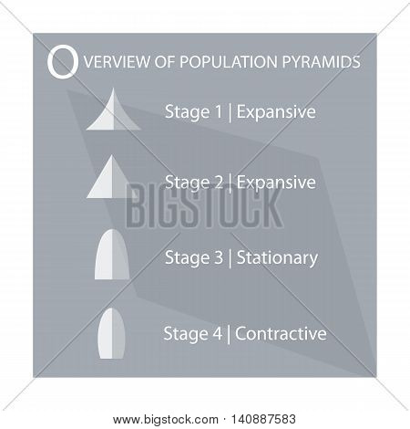 Population and Demography Illustration of 4 Types of Population Pyramids Chart or Age Structure Graph.