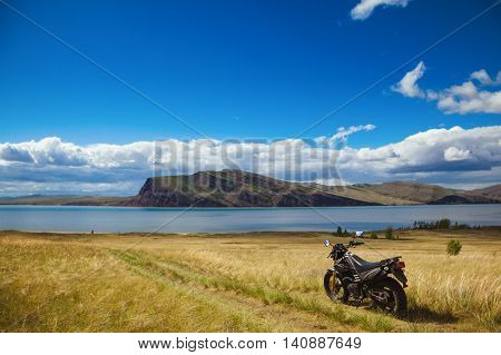 motorcycle on a field on a sunny day