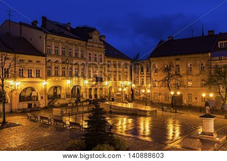 Main Square in Bielsko-Biala. Bielsko-Biala Silesia Poland.