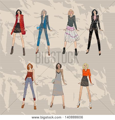 illustration with fashionable girls. shopping. fashion illustration. fashion banner.collage. Street fashion. new trends fall winter