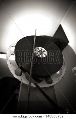 Black and white cinema 35mm professional projector reel detail