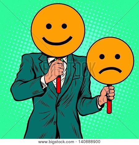 facial expressions happy and sad, pop art retro vector illustration