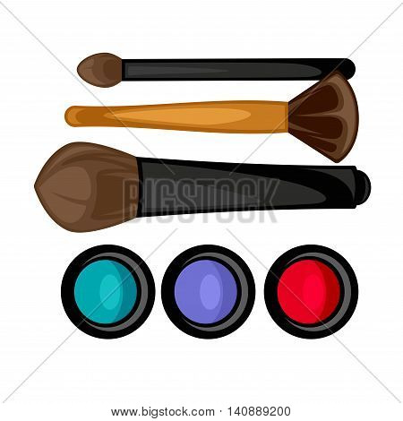 Colored pallets with eye shadows, brushes for eye makeup. Eye shadows pallet. Vector illustration.