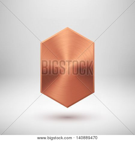 Bronze abstract technology geometric badge, blank button template with metal texture, chrome, silver, steel, copper and realistic shadow for logo, design concepts, web, apps. Vector illustration.