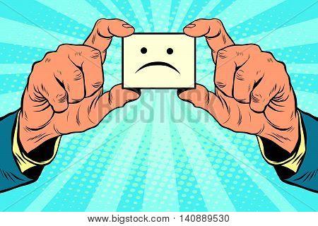 sadness face in hands, pop art retro vector illustration
