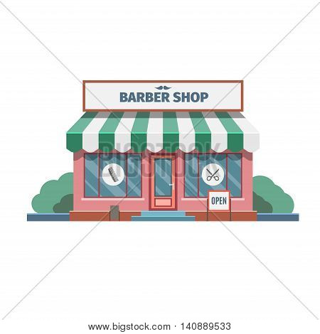 Barber in the barber shop in town. Vector Illustration.