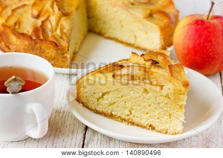 Apple pie charlotte fruit cake selective focus