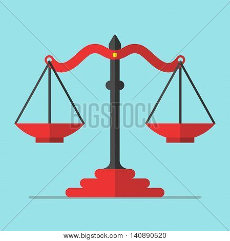 Empty red scales on blue background. Balance alternative decision equality truth and false concept. Flat design. Vector illustration. EPS 8 no transparency