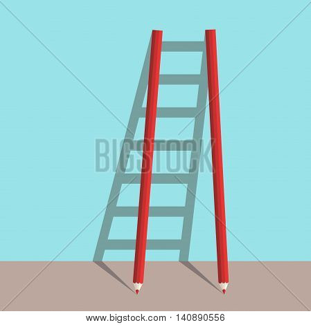 Ladder of success concept of two pencils with shadow on blue background. Goal career and creative concept. Flat design. Vector illustration. EPS 8 no transparency