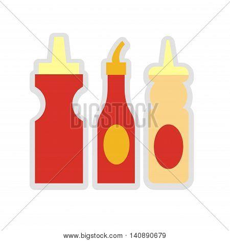Vector illustration of three sauces. Ketchup, mayonnaise and mustard.