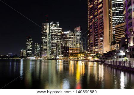 BRISBANE, AUSTRALIA - AUGUST 1 2016: Brisbane cityscape by night on the City Reach Boardwalk