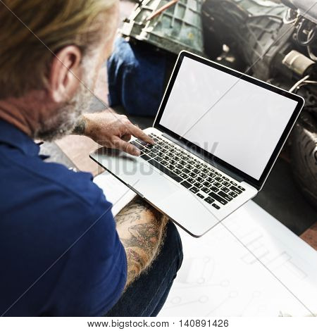 Garage Automotive Tuning Adjustment Laptop Concept
