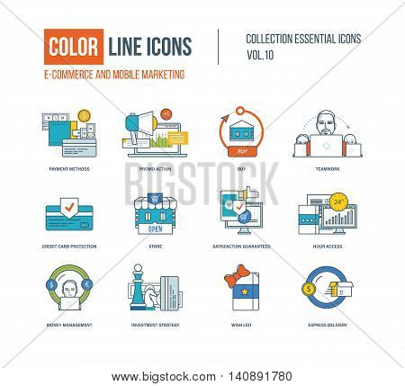 Color thin Line icons set. E-commerce, mobile marketing, investment strategy, express delivery, business protection, money management, store and protection card. Colorful logo and pictograms