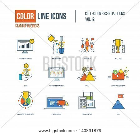 Color thin Line icons set. Startup business, promotion, mobile marketing, express delivery, success, goal, growth dynamics, video advertising, ipo, e-commerce care Colorful logo and pictograms