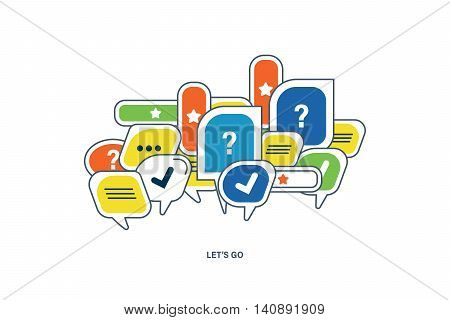 The concept of dialogue, speech bubbles with symbols of communication. Let s go.Vector illustration