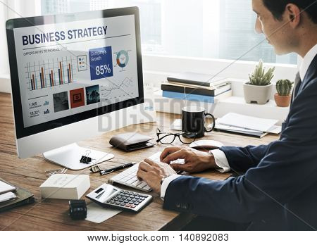 Businessman Workplace Working Business Strategy Concept