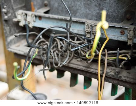 Electric cables, cut cables, electricity. Technology or electricity theme.