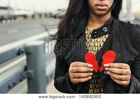African Woman Broken Heart Disappointed Sad Concept
