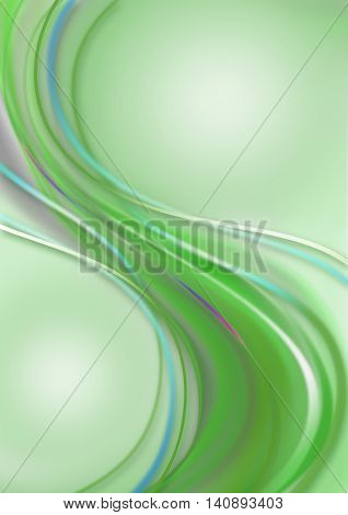 Greenish background with falling waves green shades coated bluish and rainbow strips