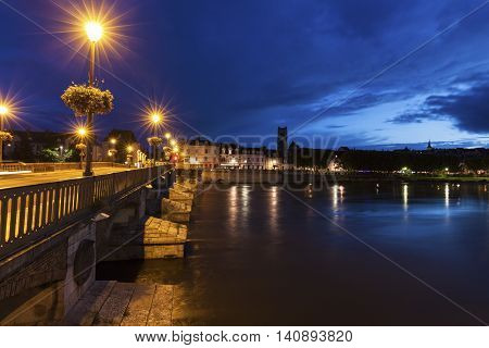 Bridge in Auxerre on Yonne River. Auxerre Burgundy France