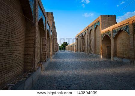 Khaju Bridge is a bridge in the province of Isfahan Iran.