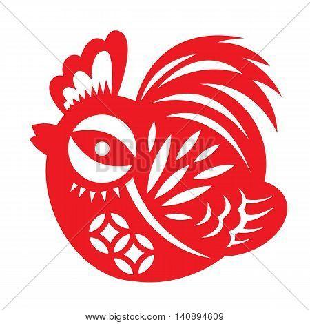 Red paper cut a cute chicken bantam zodiac symbols