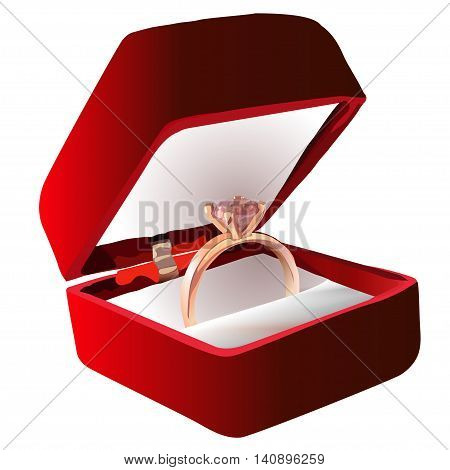 Gold ring with pink gemstone in Red Velvet Box. Vector illustration. EPS10