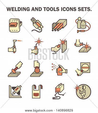 Welding work and welding tools vector icon sets.