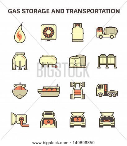 Gas storage and transportation icon set isolated on white background.