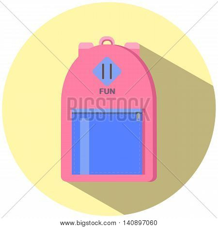 Small hand luggage backpack, pink with blue, flat style vector illustration for travel, city backpack picture, school backpack image, urban style sack, hand luggage, casual look bag, children backpack