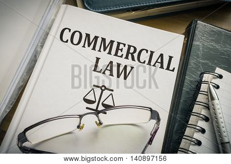 Commercial Law Book. Legislation And Justice Concept.