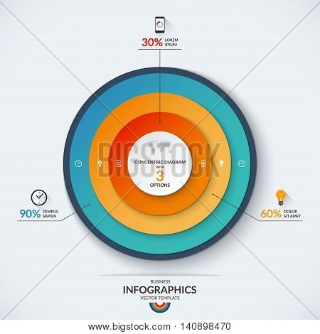 Infographic diagram template with concentric circles. Vector banner with 3 options- 30, 60 and 90 percent. Can be used for web design, presentation, graph, chart, report, data visualization
