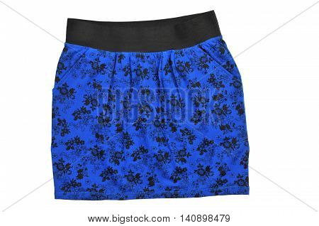 Patterned mini skirt isolated on white background