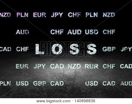 Finance concept: Glowing text Loss in grunge dark room with Dirty Floor, black background with Currency