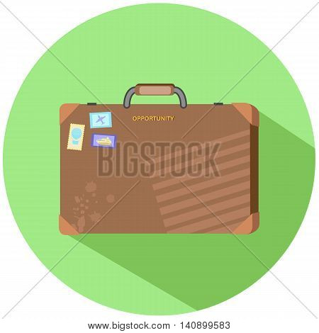 Business travel case vector illustration in flat style. Retro suitcase with travel stamps. Vintage square case with small hand for businessman. Rustic luggage case with marks. Case isolated on green