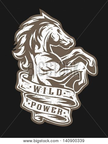 Wild horse and ribbon for text. Emblem, t-shirt graphics. For a dark background.
