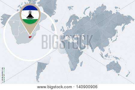 Abstract Blue World Map With Magnified Lesotho.