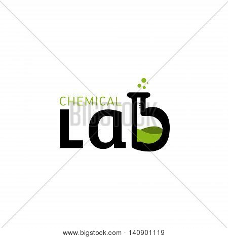 Chemical laboratory logo. Laboratory identit. Letter B as a glass bulbs