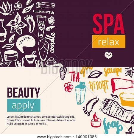 Wellness Spa banner template with hand drawn lettering and doodle elements. Can be used for greeting cards, brochure, patterns