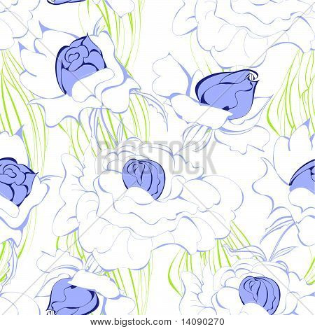 Seamless Wallpaper With White Flowers