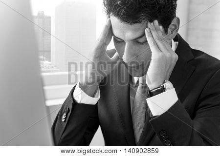 Stress Work Headache Rubbing Concept