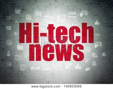 News concept: Painted red text Hi-tech News on Digital Data Paper background with  Hand Drawn News Icons