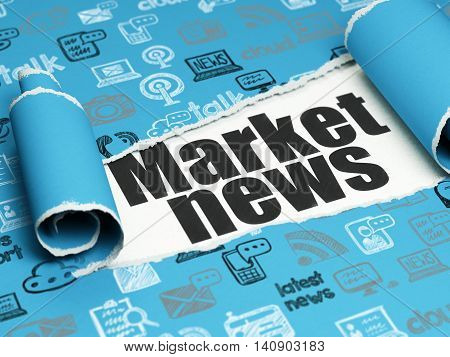 News concept: black text Market News under the curled piece of Blue torn paper with  Hand Drawn News Icons, 3D rendering