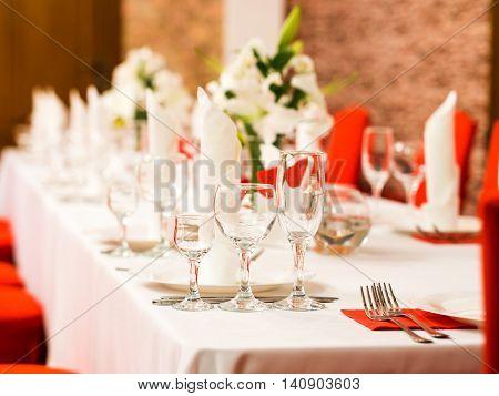 Beautiful dinner wedding table setting, summer outdoor