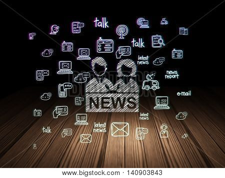 News concept: Glowing Anchorman icon in grunge dark room with Wooden Floor, black background with  Hand Drawn News Icons