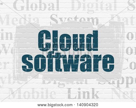 Cloud computing concept: Painted blue text Cloud Software on White Brick wall background with  Tag Cloud