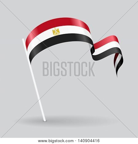 Egyptian pin icon wavy flag. Vector illustration.