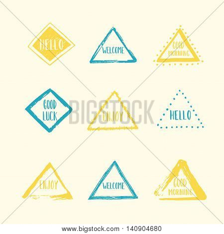 Set of hand drawn colorful shapes. Vector illustration. Abstract spots. Design elements. Blank space. Vintage style. spot